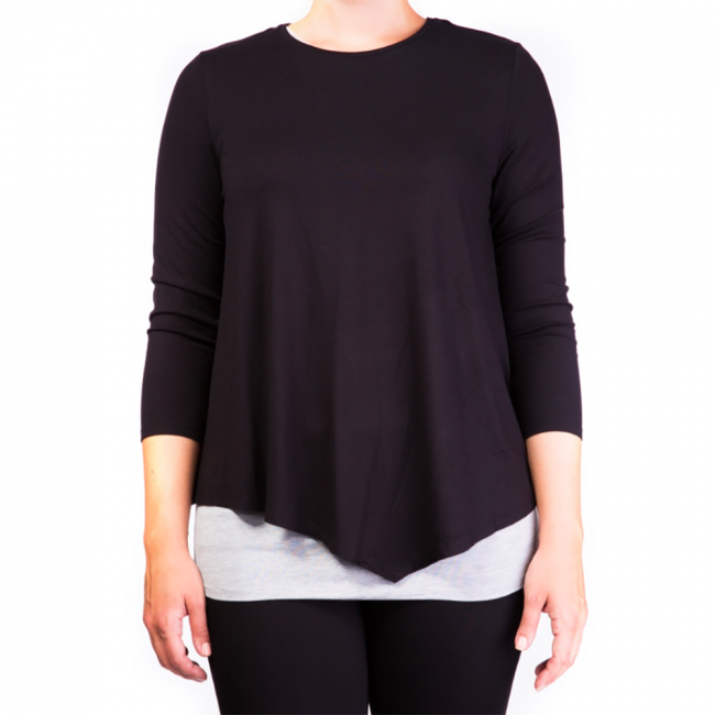 Mama Basic - Double Layer Maternity & Nursing Top- Black And Gray