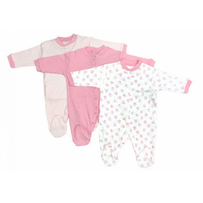 Manha's - Set of 3 Baby Cozy Sleepsuit - Pink - 0-6M