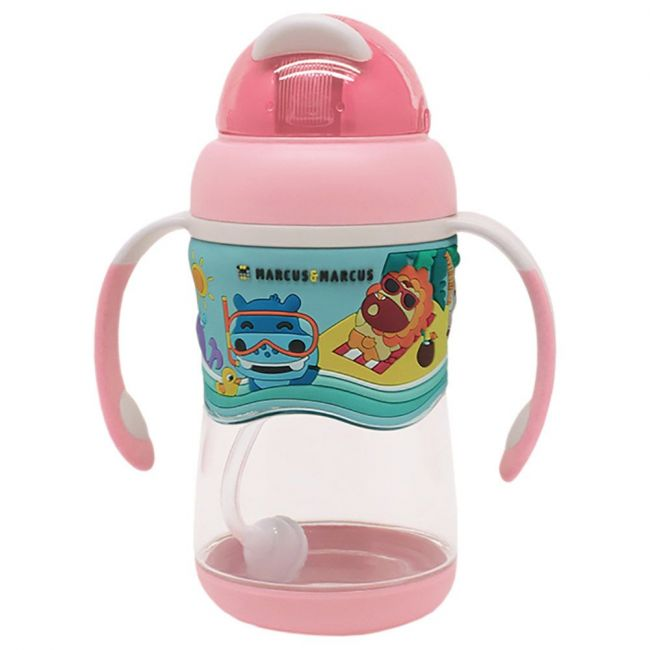 Marcus & Marcus - Stage 2 Tritan Straw Bottle - Pink + FREE Puzzle