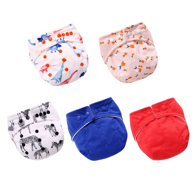 Miracle Baby - Reusable Pocket Diapers with 2 Insert Pads - Pack of 5