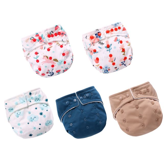 Miracle Baby - Reusable Pocket Diaper with 2 Insert Pads - Pack of 5