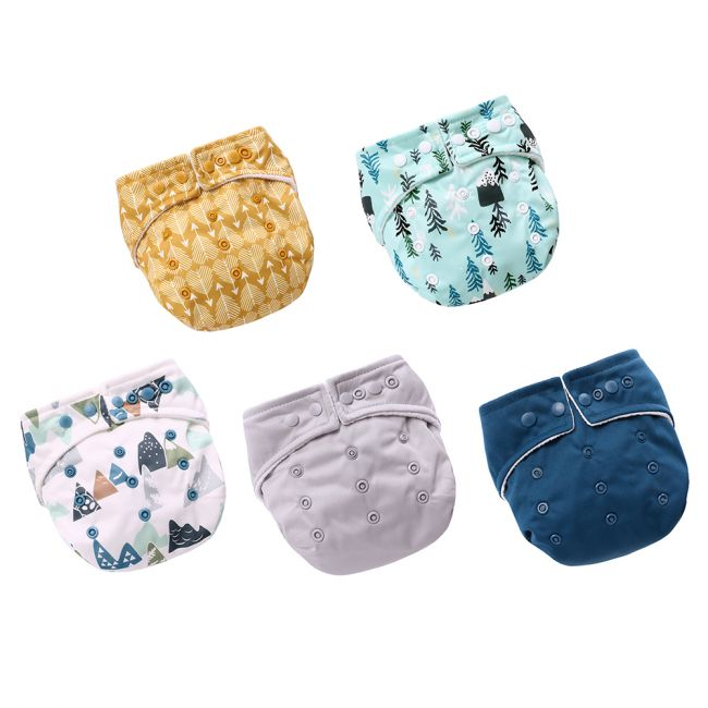 Miracle Baby - Pack of 5 Reusable Pocket Diapers with 2 Insert Pads