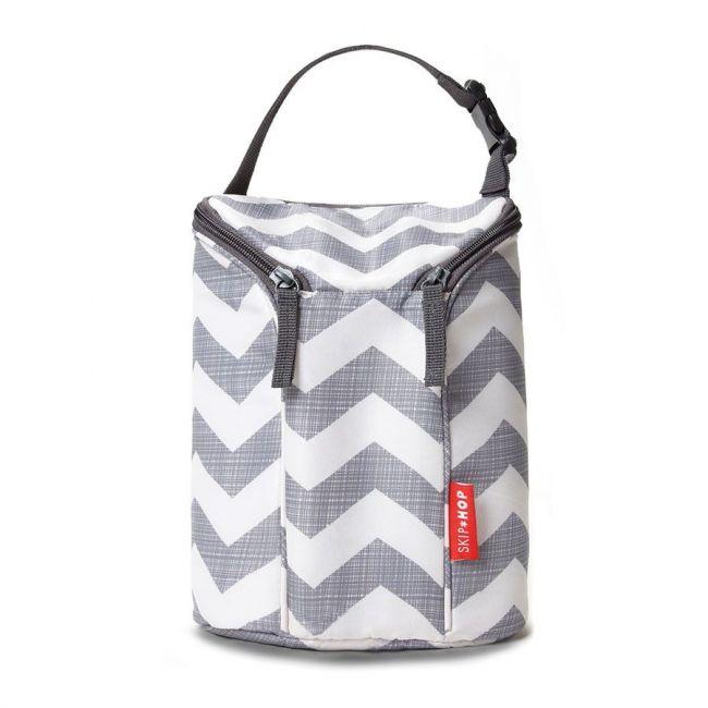 Skip Hop White/Grey Grab & Go Double Bottle Bag Chevron