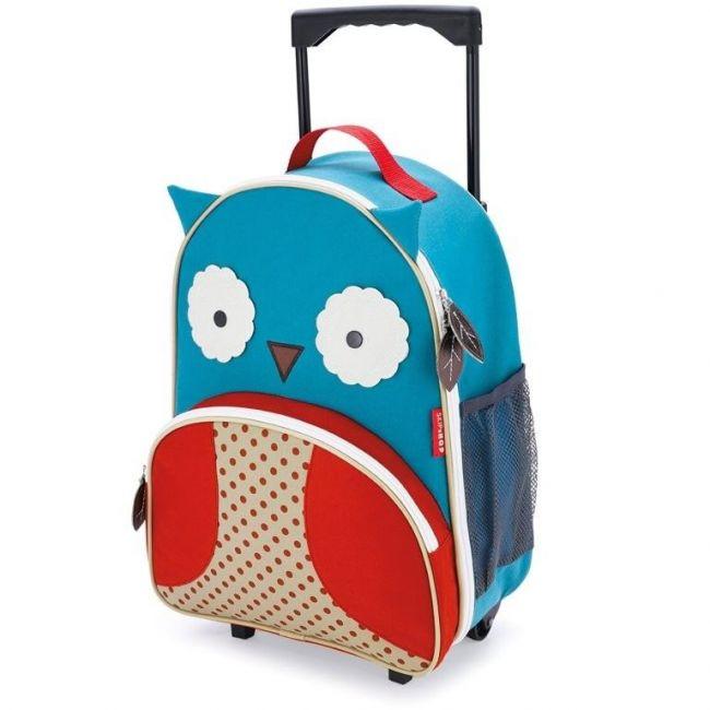SkipHop Zoo Kids Rolling Luggage Bag, Owl