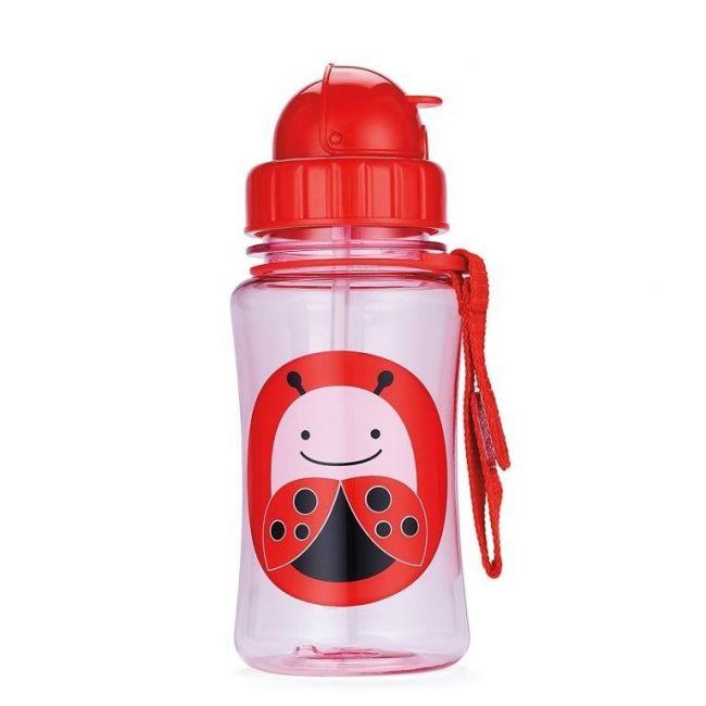 SkipHop Zoo Kid's Straw Water Bottle, Ladybug
