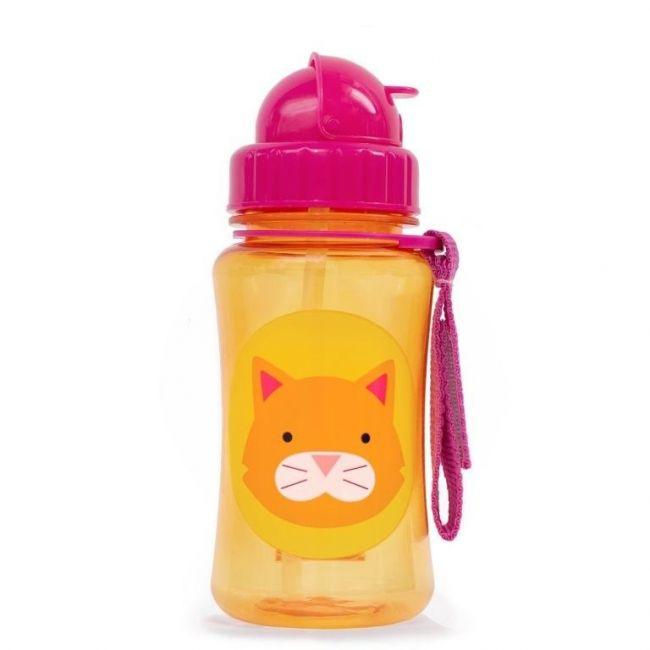 SkipHop Zoo Kid's Straw Water Bottle, Cat