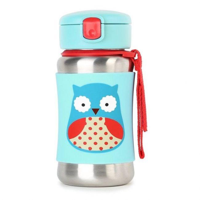 SkipHop Zoo Stainless Steel Kid's Straw Water Bottle, Owl