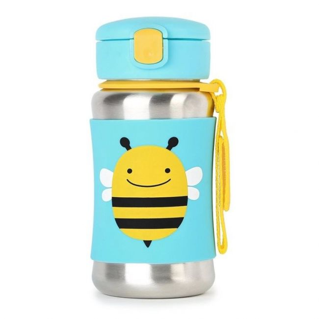 SkipHop Zoo Stainless Steel Kid's Straw Water Bottle, Bee