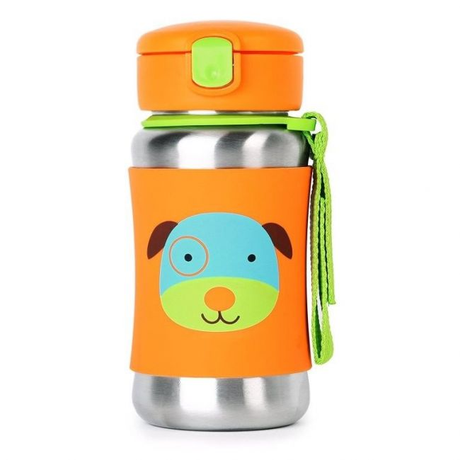 SkipHop Zoo Stainless Steel Kid's Straw Water Bottle, Dog