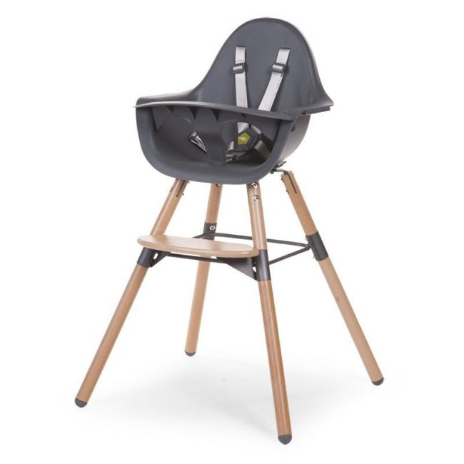 Childhome Evolu 2 Highchair with Bumper - Natural/Anthracite