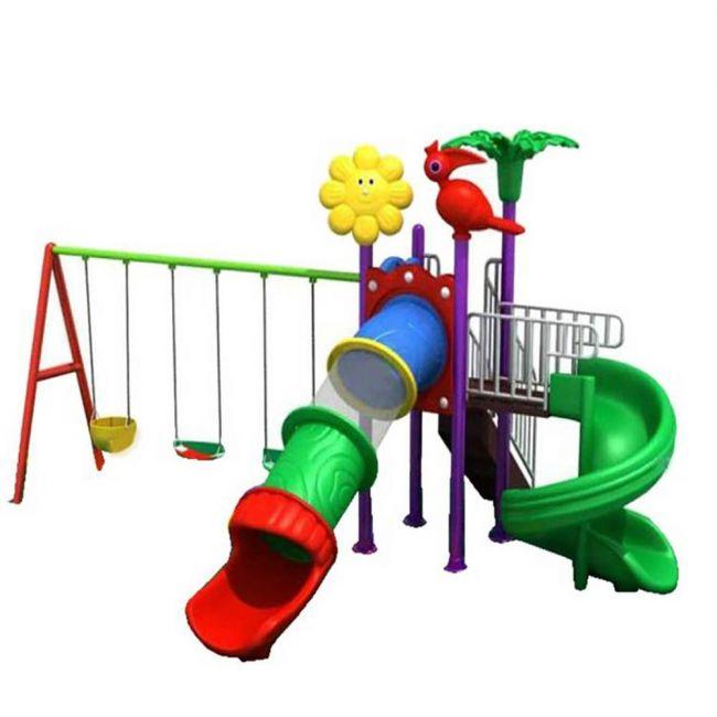Megastar - Birdy Sunshine Garden Playset With Tube Slides & Triple Swings For Kids