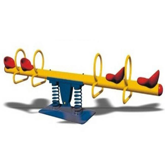Megastar - Double Springs Happy Metal See Saw- 4 Seats - Yellow