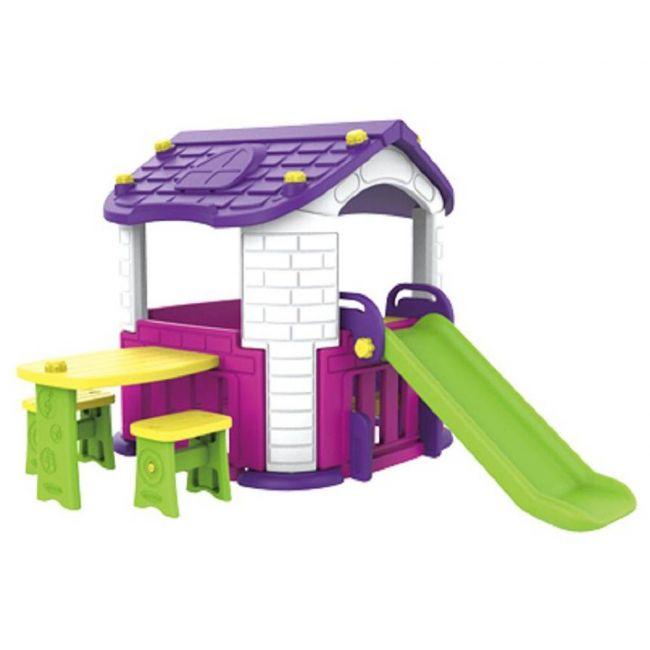 Megastar - Purplish Pink Multi Activities Tm Playhouse With Table , Chairs & Slide