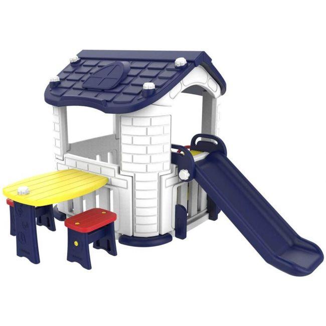 Megastar - Toddler Red N Blue Tm Playhouse With Slide & Kid'S Play Table