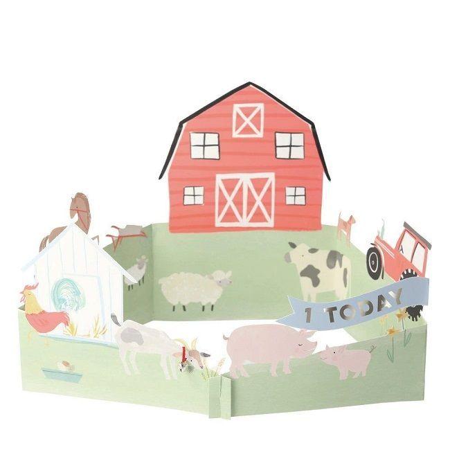 Meri Meri - On The Farm 3D Scene Card