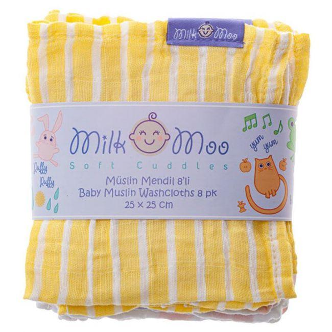 Milk&Moo - Cloud & Line Pattern Muslin Burp Cloth - Pack of 8