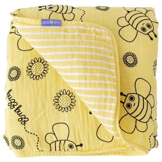 Milk&Moo - Buzzy Bee Muslin Fiber Filled Blanket - Yellow