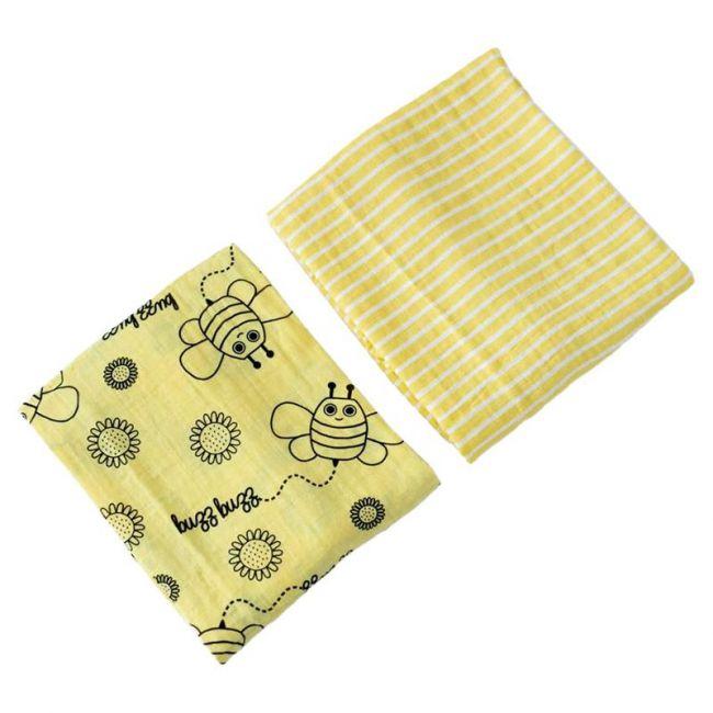 Milk&Moo - Buzzy Bee Muslin Swaddle Blanket Set of 2
