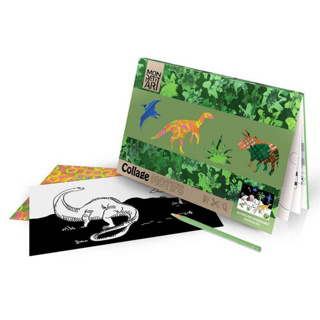 Mon Petit - Coloring Book with Collage - Dinosaures