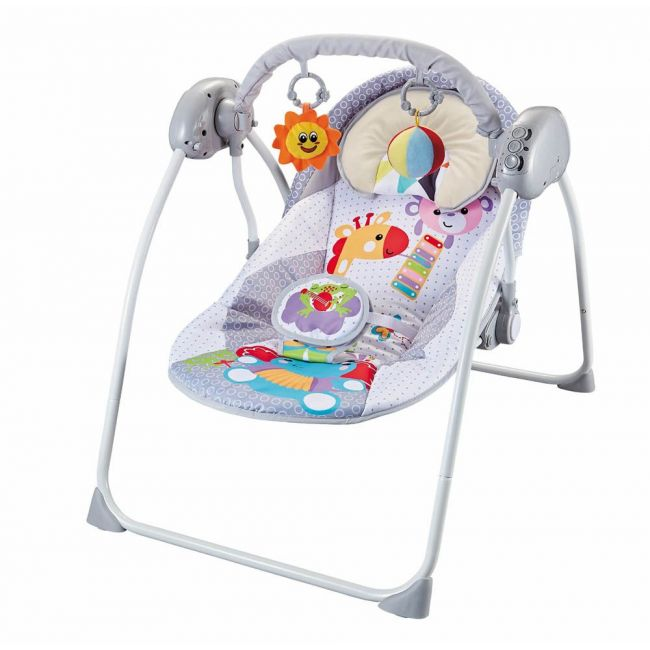 Moon - Bungee Baby Electric Wild Portable Compact Automatic Swing With Melodies- Grey, 3 Months Above