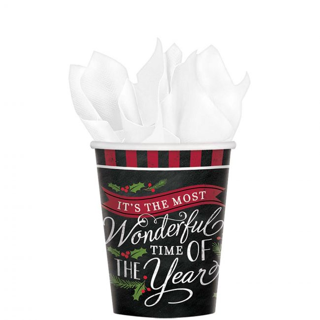 Most Wonderful Time Paper Cups 9oz, 18pcs