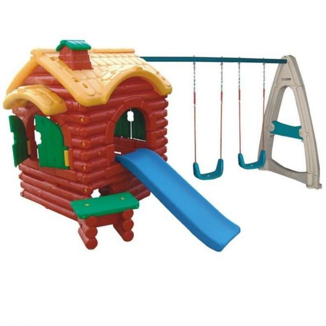 Myts - Mega Kids 3 In 1 Playhouse With Slide And Swings