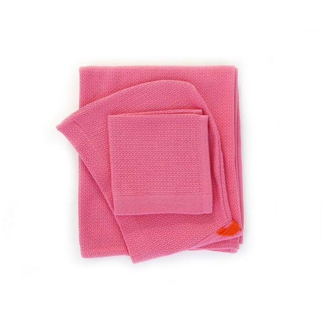Ekobo - Bambino Baby Hooded Towel and Wash Cloth Set - Flamingo