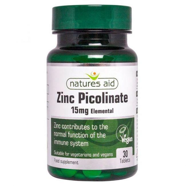 Natures Aid -  Zinc Picolinate 15mg - 30 Tablets