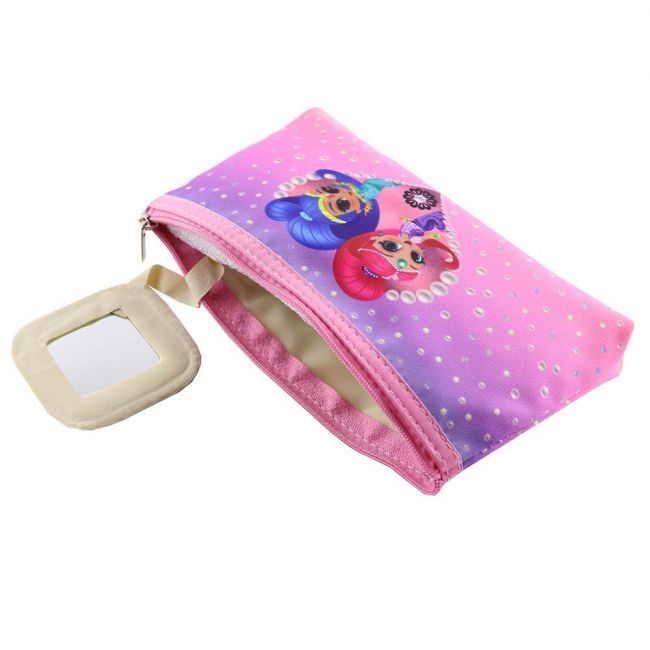 Nickelodeon - Shimmer And Shine Makeup Cosmetic Travel Case Organizer Zipper Holder Handbag With Mirror