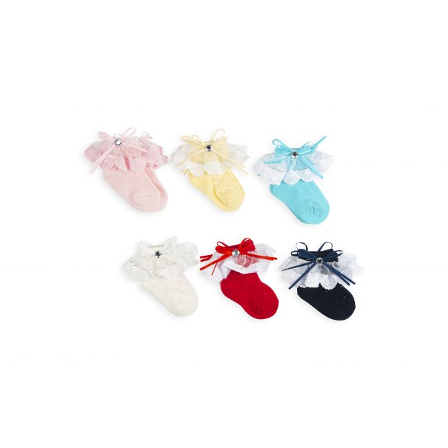 Night Angel -  Socks - Bow and Lace Design For Girls - 0-6M - 6 Pair