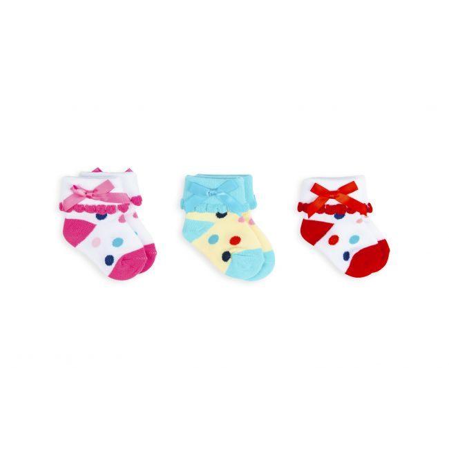 Night Angel -  Socks - Cute Dots and Bow Design - Multicoloured For Girls - 0-6M - 3 Pair