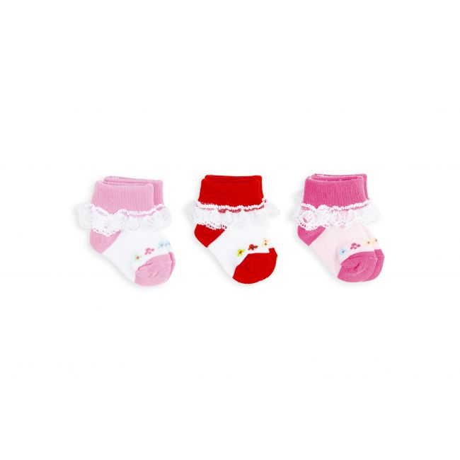 Night Angel -  Socks - Lace and Flower Design - Multicoloured For Girls - 0-6M - 3 Pair