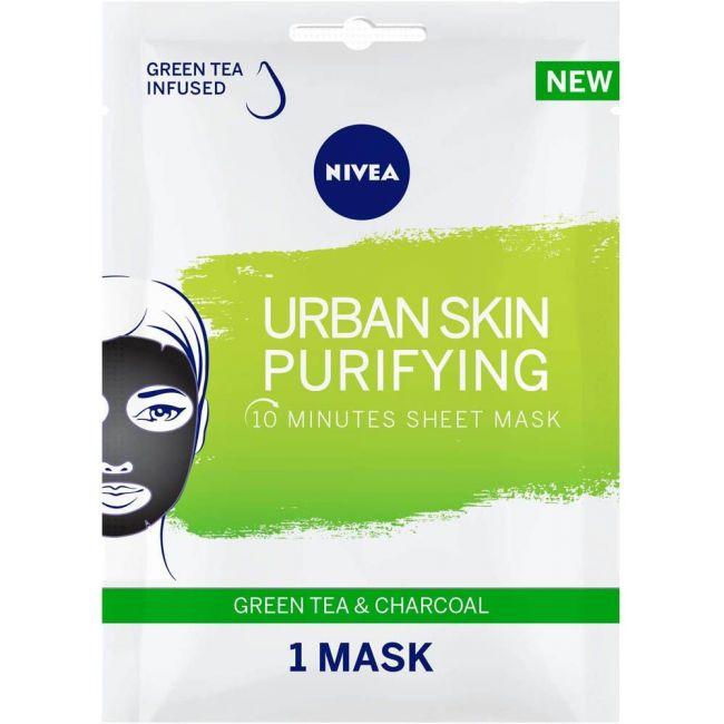 Nivea - Face Urban Skin Purifying Sheet Mask Green Tea & Charcoal 1Pc