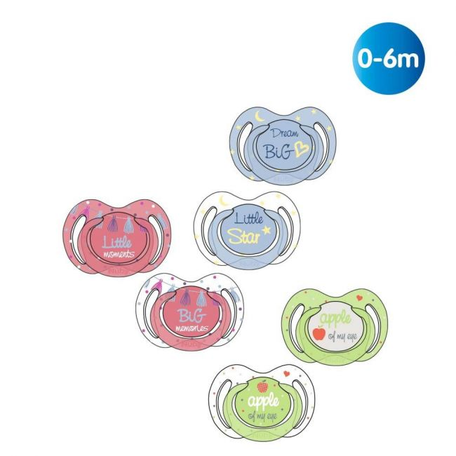 Nuby - Little Moments Glow In The Dark Oval Soother With Nubs 2 Piece 0 6 M