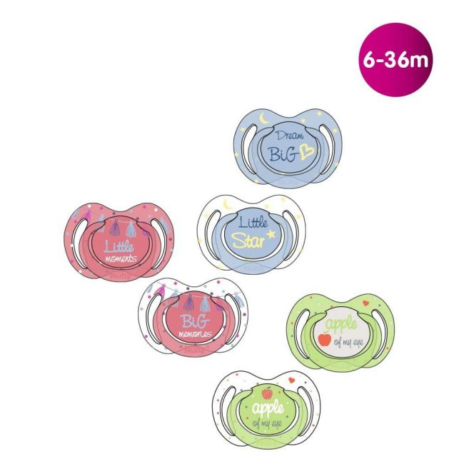 Nuby - Little Moments Glow In The Dark Oval Soother With Nubs 2 Piece 6 36 M