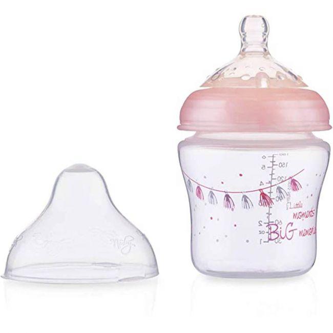 Nuby - Little Moments Slow Flow Soft Flex Baby Bottle 180ml -Pink