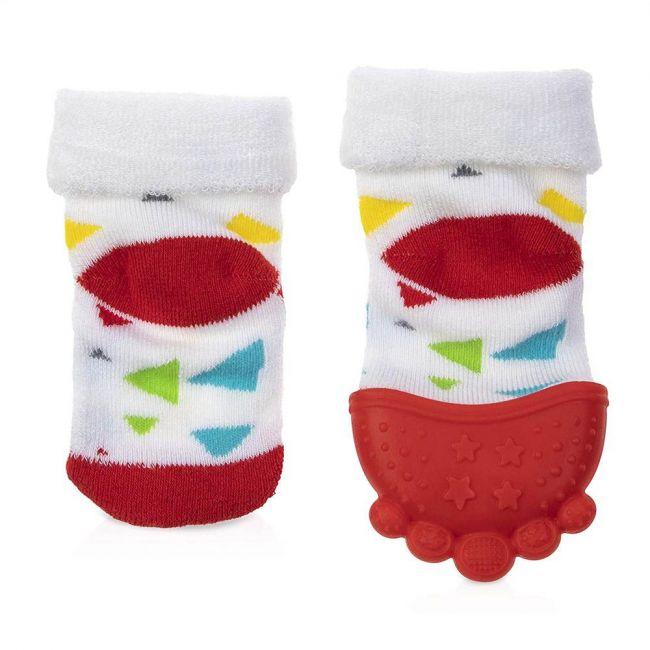 Nuby - Teething Socks 1 Pack 1 Teething Sock 1 Regular Sock 1 Hygienic Travel Bag