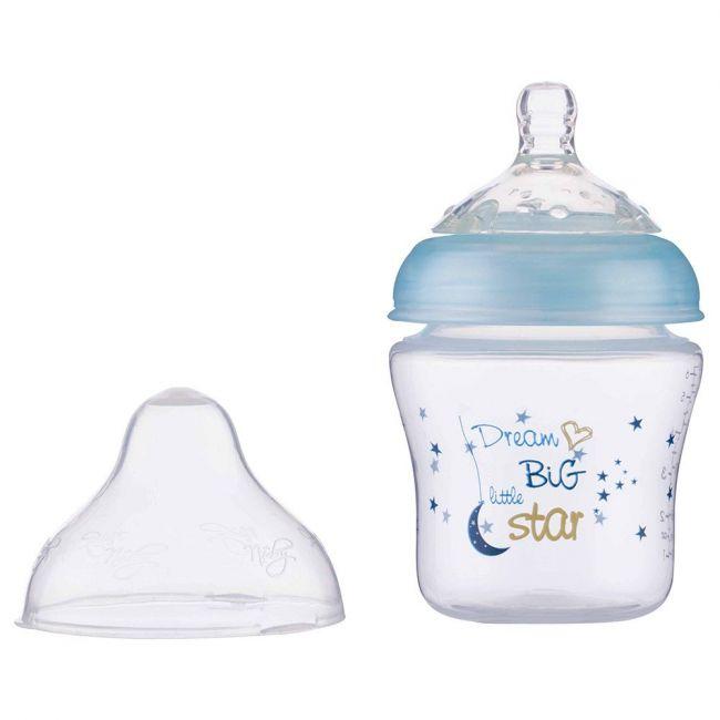 Nuby - Little Moments Slow Flow Softflex Baby Bottle 180ml - Blue