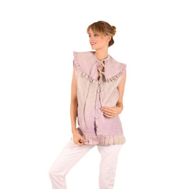 oh9shop - Maira Tie Dye Purple Collar Gilet-Free Size