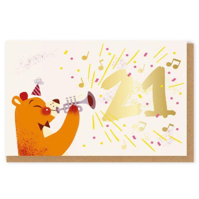 Ohh Deer - 21 Trumpet Bear Greeting Card