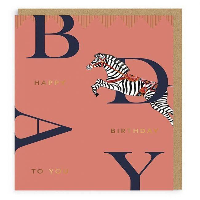 Ohh Deer - Happy Birthday Zebra Greeting Card