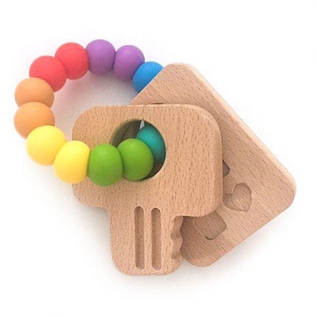 One.Chew.Three Keys Teether - Rainbow Bright