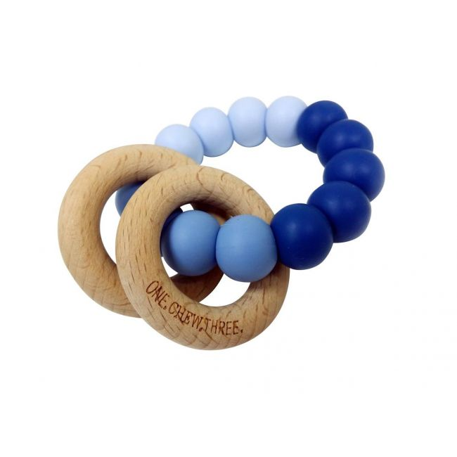 One.Chew.Three Rattle Duo Teether - Blue Ombre