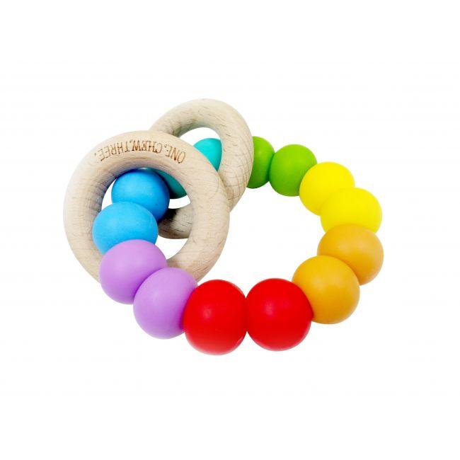 One.Chew.Three Rattle Duo Teether - Rainbow Bright