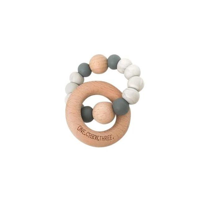 One.Chew.Three Single Rattle & Beech Wood Teether - Grey Marble