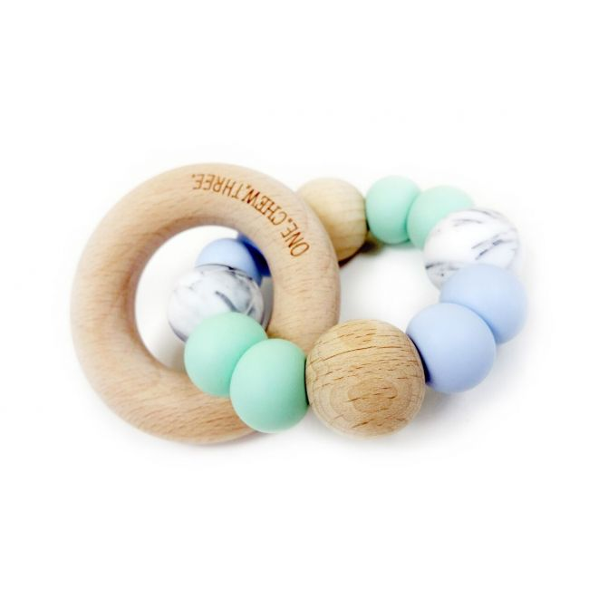 One.Chew.Three Single Rattle & Beech Wood Teether - Mint Blue Marble