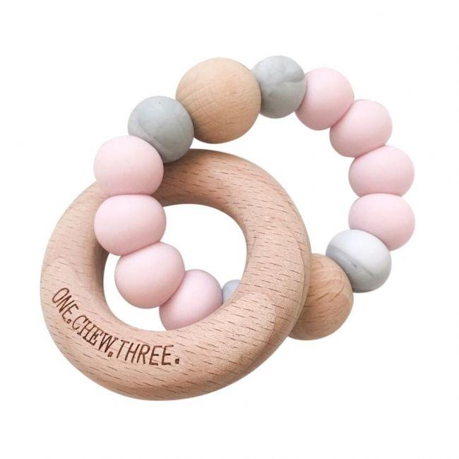 One.Chew.Three Single Rattle & Beech Wood Teether - Mint Peach Marble