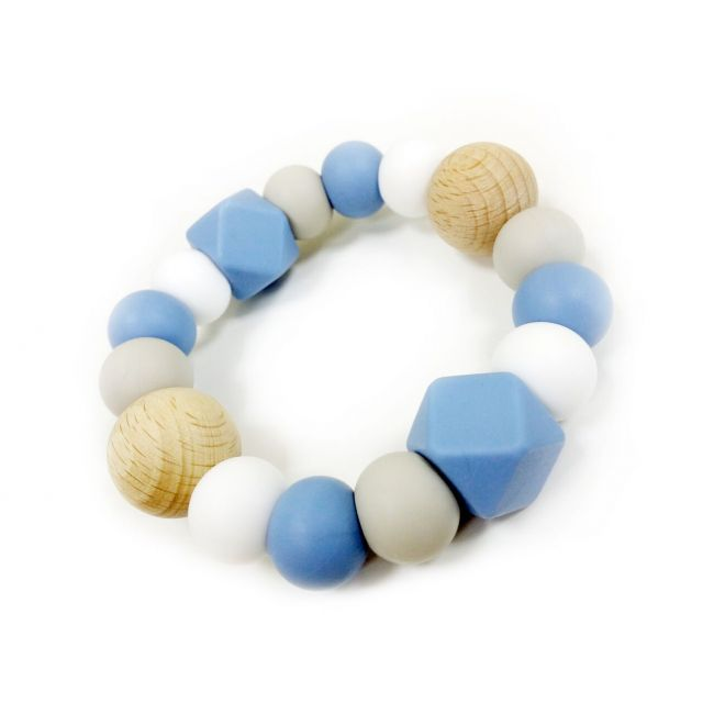 One.Chew.Three Textured Silicone Teethers - Blue Scatter
