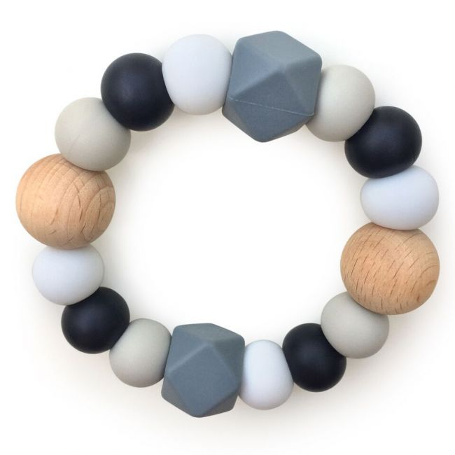 One.Chew.Three Textured Silicone Teethers - Mono Scatter