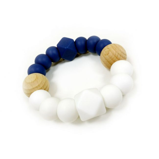 One.Chew.Three Textured Silicone Teethers - Navy/White